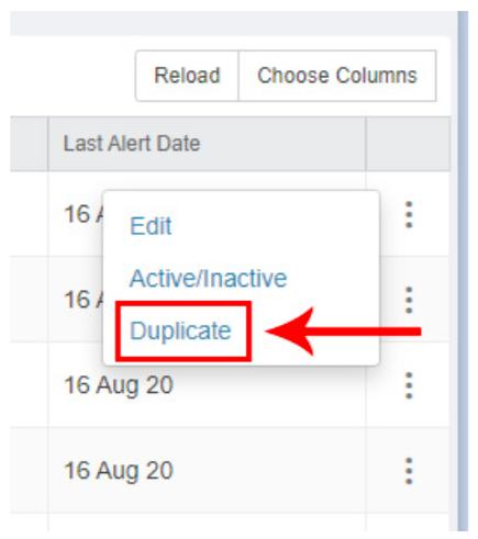 Duplicate an eZ Alert